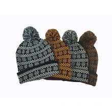 Unisex Knitted Jacquard Snow Printing POM POM Winter Warm Hat Beanie (HW152)